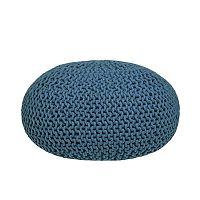 Modrý  pletený puf LABEL51 Knitted XL