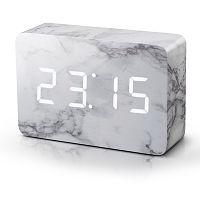 Mramorový budík s bílým LED displejem Gingko Brick Marble Click Clock