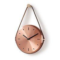 Nástěnné hodiny v měděné barvě La Forma Wolly