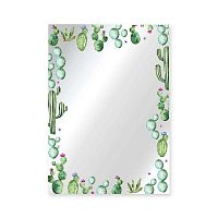 Nástěnné zrcadlo Surdic Espejo Decorado Cactus Garden, 50 x 70 cm