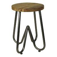 Odkládací stolek s deskou  z mangového dřeva s černým podnožím HSM collection, ⌀38cm