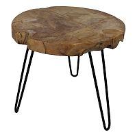 Odkládací stolek s deskou  z teakového dřeva HSM collection Helen, ⌀55cm
