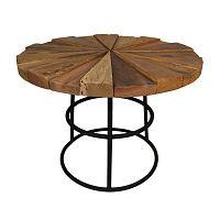 Odkládací stolek s deskou  z teakového dřeva s černými nohami HSM collection Sun Round, ⌀60cm