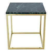 Odkládací stolek s podnožím ve zlaté barvě a zelenou mramorovou deskou RGE Accent