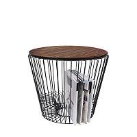 Odkládací stolek z kovu v dekoru ořechového dřeva HARTÔ, Ø 50 cm