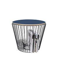 Odkládací stolek z lakovaného kovu s modrou deskou HARTÔ, Ø 50 cm