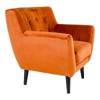 Oranžové křeslo ze sametu House Nordic Monte