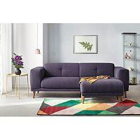 Pastelově fialová 3místná pohovka s podnožkou Bobochic Luna