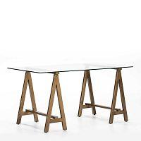 Pracovní stůl ze skla a kovu Thai Natura Transparent, 150 x 76 cm
