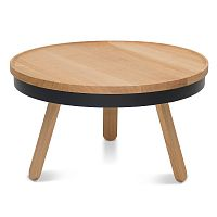 Přírodno-černý odkládací stolek z dubového dřeva s úložným prostorem Woodendot Batea M