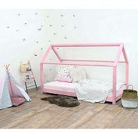Růžová dětská postel bez bočnic ze smrkového dřeva Benlemi Tery, 90 x 160 cm