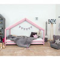 Růžová dětská postel z lakovaného smrkového dřeva Benlemi Sidy, 90 x 190 cm