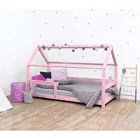 Růžová dětská postel ze smrkového dřeva s bočnicemi Benlemi Tery, 120x200cm