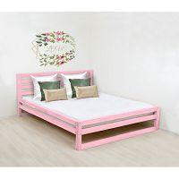 Růžová dřevěná dvoulůžková postel Benlemi DeLuxe, 200x200cm