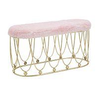 Růžová polstrovaná lavice s železnou konstrukcí ve zlaté barvě Mauro Ferretti Amelia