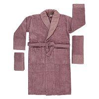 Růžovo-fialový set županu, ručníku a osušky Crespo, vel. M/L
