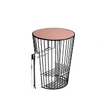 Růžovo-šedý Odkládací stolek z kovu s možností uložení časopisů HARTÔ Duo