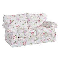 Růžovobílá květovaná dvoumístná pohovka Max Winzer Mina
