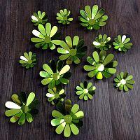 Sada 12 zelených adhezivních 3D samolepek Ambiance Flowers Chic