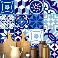 Sada 16 nástěnných samolepek Ambiance Wall Stickers Tiles Azulejos Shade of Blue, 20 x 20 cm