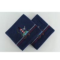 Sada 2 bavlněných osušek Marina Dark Blue Denis, 50x90cm