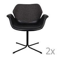 Sada 2 černo-šedých židlí s područkami Zuiver Nikki