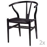Sada 2 černých dřevěných jídelních židlí sømcasa Ada
