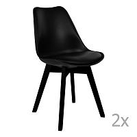 Sada 2 černých jídelních židlí House Nordic Viborg
