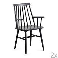 Sada 2 černých jídelních židlí La Forma Kristie