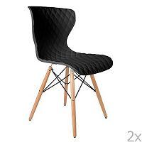 Sada 2 černých židlí s bukovým podnožím White Label Crow