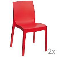 Sada 2 červených jídelních židlí Castagnetti Rome
