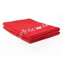 Sada 2 červených ručníků Beverly Hills Polo Club Tommy Yazi, 50x100cm