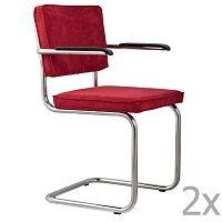 Sada 2 červených židlí s područkami Zuiver Ridge Rib