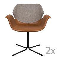 Sada 2 hnědo-šedých židlí s područkami Zuiver Nikki