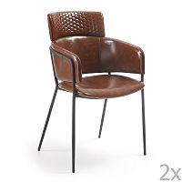 Sada 2 hnědých jídelních židlí La Forma Rhett