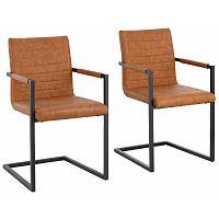 Sada 2 hnědých  jídelních židlí s područkami Støraa Sandra