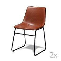Sada 2 hnědých židlí Knuds Indiana