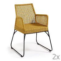 Sada 2 hořčicově žlutých židlí La Forma Novak