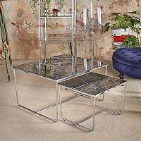 Sada 2 konferenčních stolků s podnožím ve stříbrné barvě a černou mramorovou deskou RGE Stella