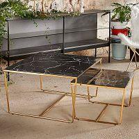 Sada 2 konferenčních stolků s podnožím ve zlaté barvě a černou mramorovou deskou RGE Stella