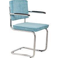 Sada 2 modrých židlí s područkami Zuiver Ridge Kink Rib