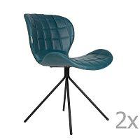 Sada 2 modrých židlí Zuiver OMG LL