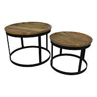 Sada 2 odkládacích stolků s deskou  z mangového dřeva HSM collection Zen