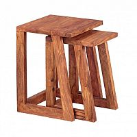 Sada 2 odkládacích stolků z masivního palisandrového dřeva Skyport Luana