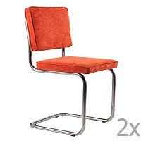 Sada 2 oranžových židlí Zuiver Ridge Rib