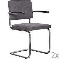 Sada 2 šedých židlí s područkami Zuiver Ridge Rib