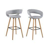 Sada 2 světle šedých barových židlí Actona Grace