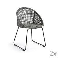 Sada 2 světle šedých židlí La Forma Sandrine