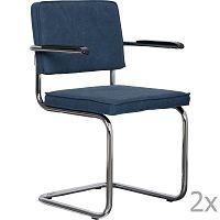 Sada 2 tmavě modrých židlí s područkami Zuiver Ridge Rib