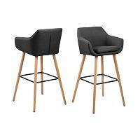 Sada 2 tmavě šedých barových židlí Actona Nora